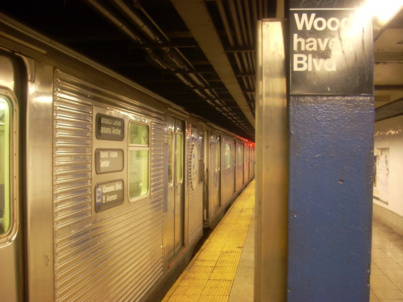 (152k, 800x600)<br><b>Country:</b> United States<br><b>City:</b> New York<br><b>System:</b> New York City Transit<br><b>Line:</b> IND Queens Boulevard Line<br><b>Location:</b> Woodhaven Boulevard/Queens Mall <br><b>Route:</b> E<br><b>Car:</b> R-32 (Budd, 1964)  3932 <br><b>Photo by:</b> Bill E.<br><b>Date:</b> 3/7/2009<br><b>Viewed (this week/total):</b> 0 / 1830