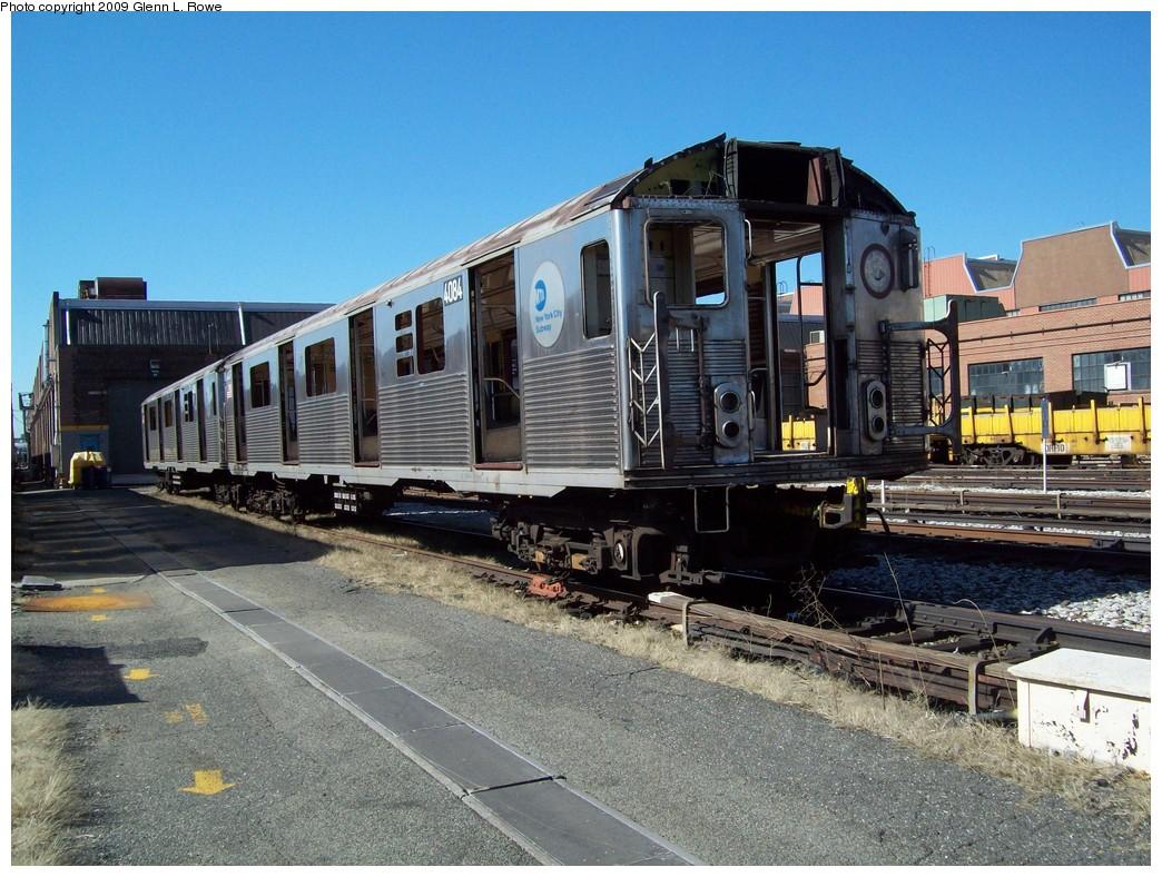 (269k, 1044x788)<br><b>Country:</b> United States<br><b>City:</b> New York<br><b>System:</b> New York City Transit<br><b>Location:</b> 207th Street Yard<br><b>Car:</b> R-38 (St. Louis, 1966-1967)  4084 <br><b>Photo by:</b> Glenn L. Rowe<br><b>Date:</b> 3/24/2009<br><b>Notes:</b> Scrap<br><b>Viewed (this week/total):</b> 0 / 879