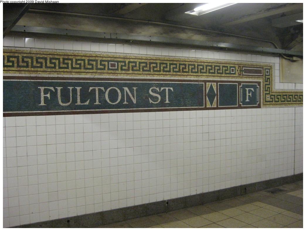 (184k, 1044x788)<br><b>Country:</b> United States<br><b>City:</b> New York<br><b>System:</b> New York City Transit<br><b>Line:</b> BMT Nassau Street/Jamaica Line<br><b>Location:</b> Fulton Street <br><b>Photo by:</b> David M. <br><b>Date:</b> 2/19/2009<br><b>Notes:</b> Mosaic tile.<br><b>Viewed (this week/total):</b> 1 / 1891