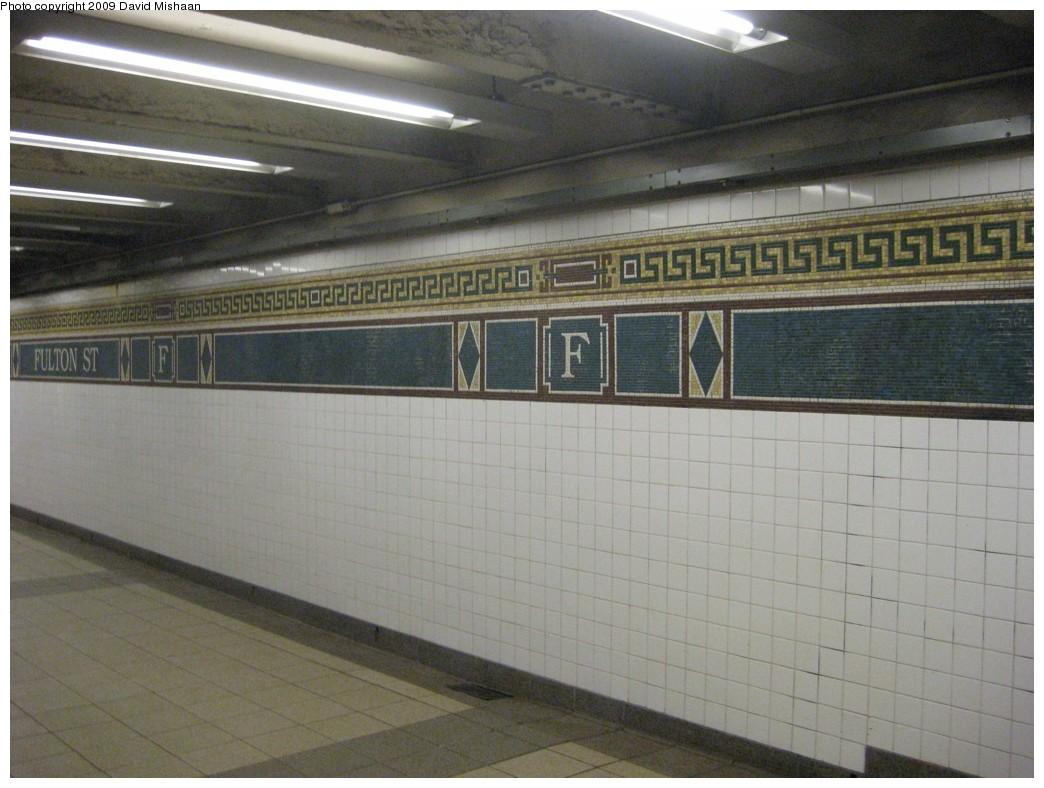 (180k, 1044x788)<br><b>Country:</b> United States<br><b>City:</b> New York<br><b>System:</b> New York City Transit<br><b>Line:</b> BMT Nassau Street/Jamaica Line<br><b>Location:</b> Fulton Street <br><b>Photo by:</b> David M. <br><b>Date:</b> 2/19/2009<br><b>Notes:</b> Mosaic tile.<br><b>Viewed (this week/total):</b> 1 / 1326