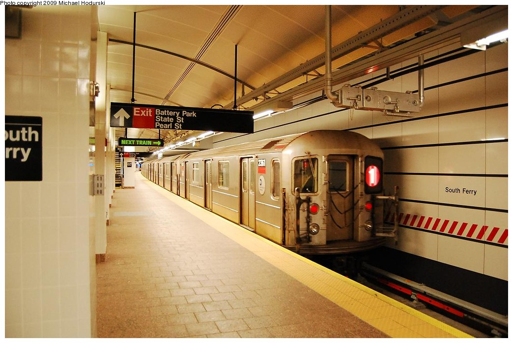 (224k, 1044x699)<br><b>Country:</b> United States<br><b>City:</b> New York<br><b>System:</b> New York City Transit<br><b>Line:</b> IRT West Side Line<br><b>Location:</b> South Ferry (New Station) <br><b>Route:</b> 1<br><b>Car:</b> R-62A (Bombardier, 1984-1987)  2361 <br><b>Photo by:</b> Michael Hodurski<br><b>Date:</b> 3/22/2008<br><b>Viewed (this week/total):</b> 1 / 1828