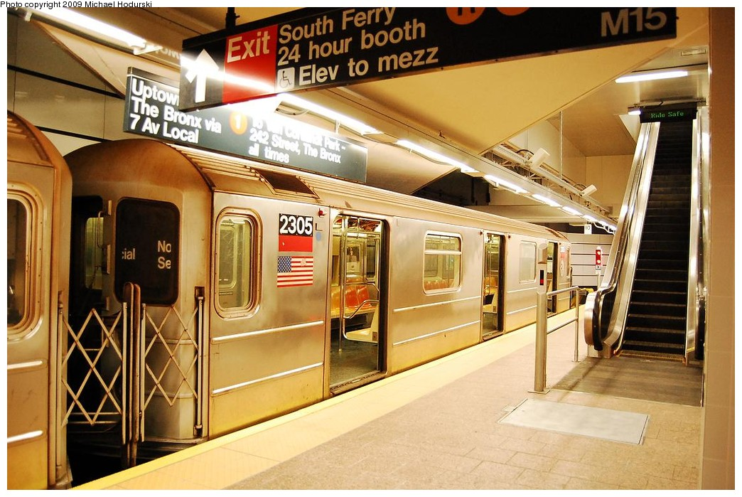(244k, 1044x699)<br><b>Country:</b> United States<br><b>City:</b> New York<br><b>System:</b> New York City Transit<br><b>Line:</b> IRT West Side Line<br><b>Location:</b> South Ferry (New Station) <br><b>Route:</b> 1<br><b>Car:</b> R-62A (Bombardier, 1984-1987)  2305 <br><b>Photo by:</b> Michael Hodurski<br><b>Date:</b> 3/22/2008<br><b>Viewed (this week/total):</b> 1 / 1611