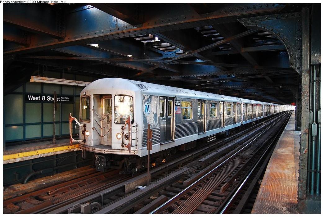 (268k, 1044x699)<br><b>Country:</b> United States<br><b>City:</b> New York<br><b>System:</b> New York City Transit<br><b>Line:</b> BMT Culver Line<br><b>Location:</b> West 8th Street <br><b>Route:</b> F<br><b>Car:</b> R-42 (St. Louis, 1969-1970)  4727 <br><b>Photo by:</b> Michael Hodurski<br><b>Date:</b> 3/22/2008<br><b>Viewed (this week/total):</b> 0 / 1668
