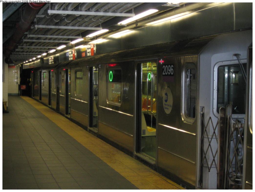 (204k, 1044x788)<br><b>Country:</b> United States<br><b>City:</b> New York<br><b>System:</b> New York City Transit<br><b>Line:</b> IRT Flushing Line<br><b>Location:</b> Times Square <br><b>Route:</b> 7<br><b>Car:</b> R-62A (Bombardier, 1984-1987)  2096 <br><b>Photo by:</b> Robert Mencher<br><b>Date:</b> 3/23/2009<br><b>Viewed (this week/total):</b> 2 / 1881