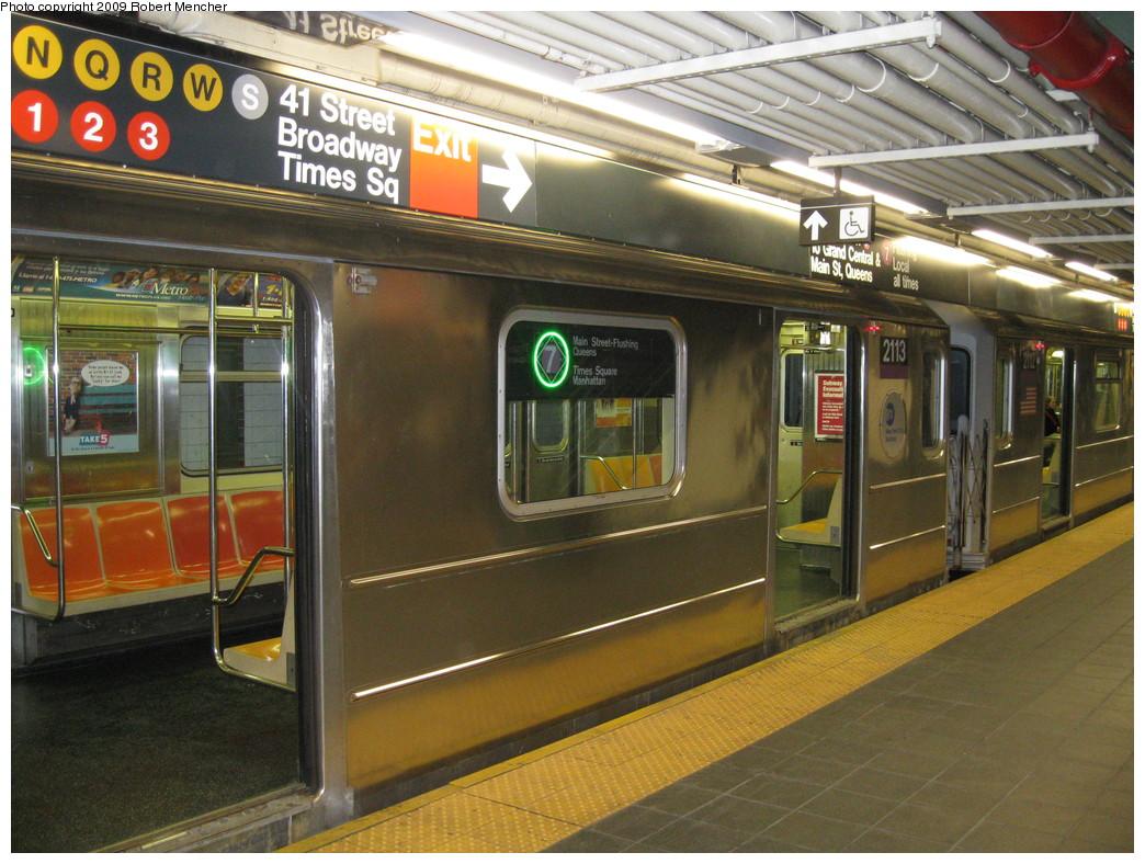 (259k, 1044x788)<br><b>Country:</b> United States<br><b>City:</b> New York<br><b>System:</b> New York City Transit<br><b>Line:</b> IRT Flushing Line<br><b>Location:</b> Times Square <br><b>Route:</b> 7<br><b>Car:</b> R-62A (Bombardier, 1984-1987)  2113 <br><b>Photo by:</b> Robert Mencher<br><b>Date:</b> 3/23/2009<br><b>Viewed (this week/total):</b> 1 / 2873