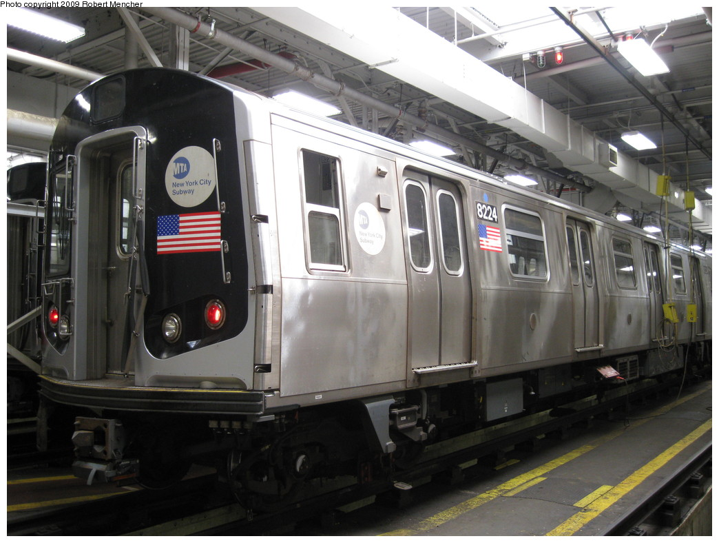 (205k, 1044x788)<br><b>Country:</b> United States<br><b>City:</b> New York<br><b>System:</b> New York City Transit<br><b>Location:</b> East New York Yard/Shops<br><b>Car:</b> R-143 (Kawasaki, 2001-2002) 8224 <br><b>Photo by:</b> Robert Mencher<br><b>Date:</b> 3/23/2009<br><b>Viewed (this week/total):</b> 2 / 1018