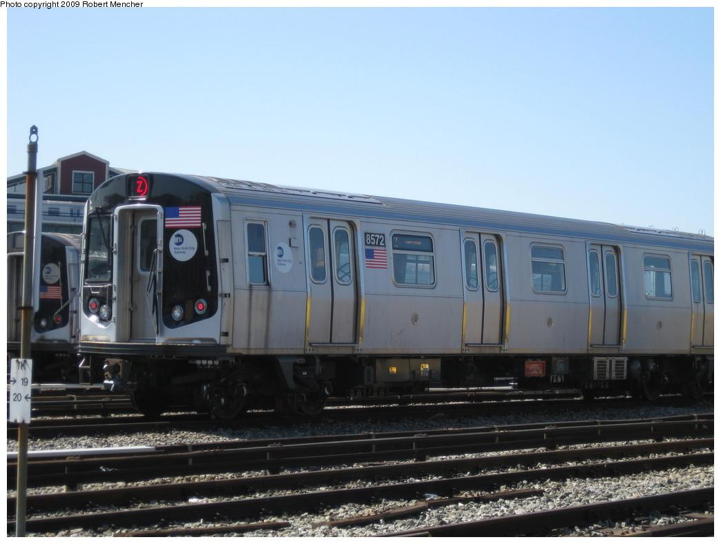 (179k, 1044x788)<br><b>Country:</b> United States<br><b>City:</b> New York<br><b>System:</b> New York City Transit<br><b>Location:</b> East New York Yard/Shops<br><b>Car:</b> R-160A-1 (Alstom, 2005-2008, 4 car sets)  8572 <br><b>Photo by:</b> Robert Mencher<br><b>Date:</b> 3/23/2009<br><b>Viewed (this week/total):</b> 0 / 985