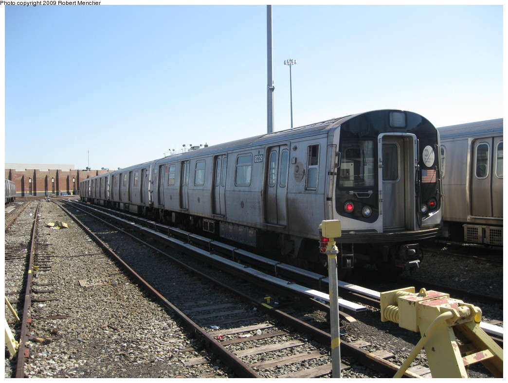 (232k, 1044x788)<br><b>Country:</b> United States<br><b>City:</b> New York<br><b>System:</b> New York City Transit<br><b>Location:</b> East New York Yard/Shops<br><b>Car:</b> R-143 (Kawasaki, 2001-2002) 8229 <br><b>Photo by:</b> Robert Mencher<br><b>Date:</b> 3/23/2009<br><b>Viewed (this week/total):</b> 1 / 878