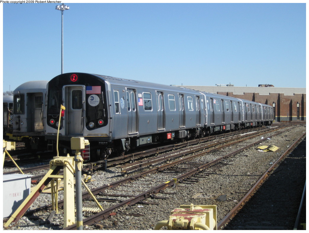 (245k, 1044x788)<br><b>Country:</b> United States<br><b>City:</b> New York<br><b>System:</b> New York City Transit<br><b>Location:</b> East New York Yard/Shops<br><b>Car:</b> R-160A-1 (Alstom, 2005-2008, 4 car sets)  8569 <br><b>Photo by:</b> Robert Mencher<br><b>Date:</b> 3/23/2009<br><b>Viewed (this week/total):</b> 1 / 1010