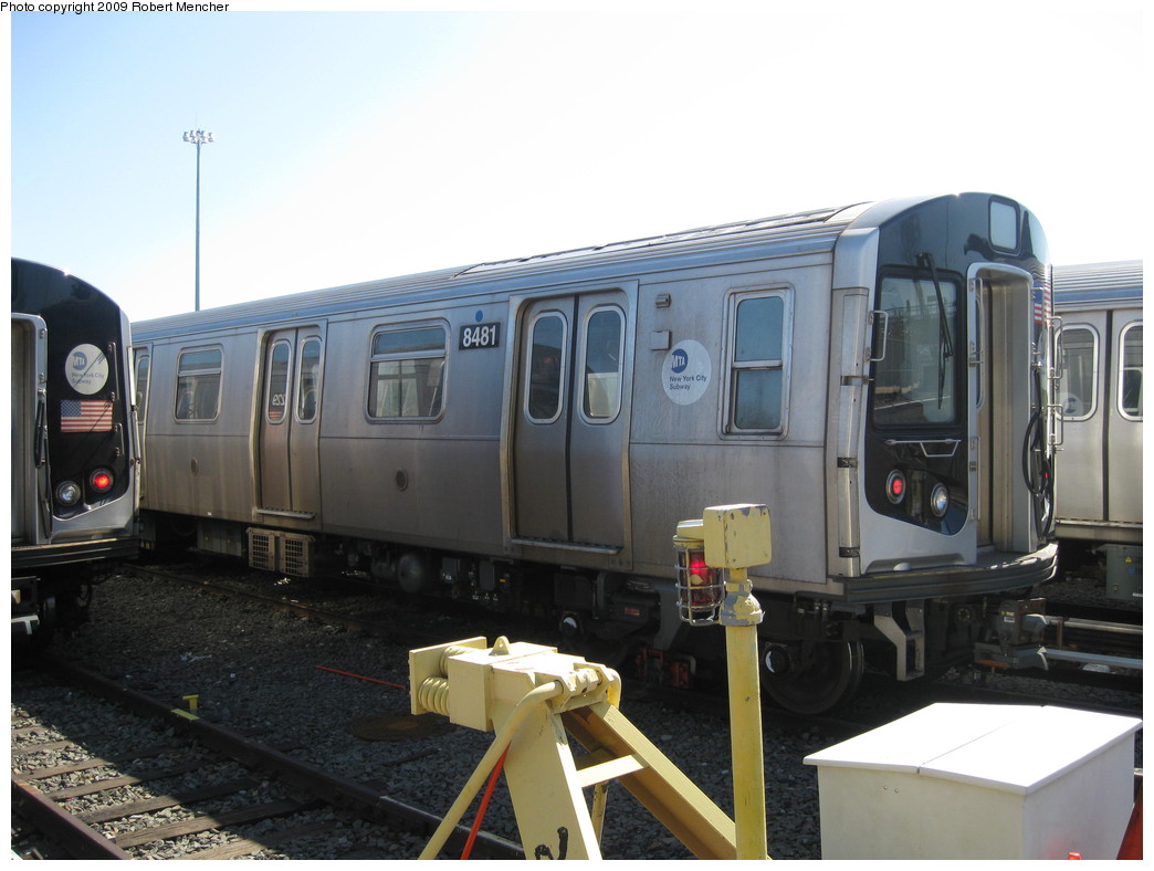 (179k, 1044x788)<br><b>Country:</b> United States<br><b>City:</b> New York<br><b>System:</b> New York City Transit<br><b>Location:</b> East New York Yard/Shops<br><b>Car:</b> R-160A-1 (Alstom, 2005-2008, 4 car sets)  8481 <br><b>Photo by:</b> Robert Mencher<br><b>Date:</b> 3/23/2009<br><b>Viewed (this week/total):</b> 1 / 640