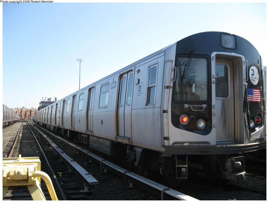 (180k, 1044x788)<br><b>Country:</b> United States<br><b>City:</b> New York<br><b>System:</b> New York City Transit<br><b>Location:</b> East New York Yard/Shops<br><b>Car:</b> R-143 (Kawasaki, 2001-2002) 8109 <br><b>Photo by:</b> Robert Mencher<br><b>Date:</b> 3/23/2009<br><b>Viewed (this week/total):</b> 0 / 677