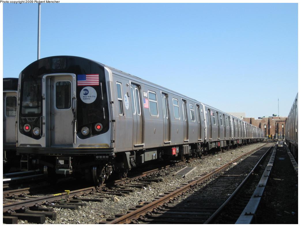 (200k, 1044x788)<br><b>Country:</b> United States<br><b>City:</b> New York<br><b>System:</b> New York City Transit<br><b>Location:</b> East New York Yard/Shops<br><b>Car:</b> R-160A-1 (Alstom, 2005-2008, 4 car sets)  8649 <br><b>Photo by:</b> Robert Mencher<br><b>Date:</b> 3/23/2009<br><b>Viewed (this week/total):</b> 1 / 679