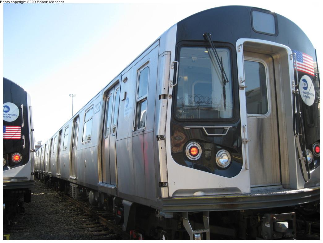 (188k, 1044x788)<br><b>Country:</b> United States<br><b>City:</b> New York<br><b>System:</b> New York City Transit<br><b>Location:</b> East New York Yard/Shops<br><b>Car:</b> R-143 (Kawasaki, 2001-2002) 8497 <br><b>Photo by:</b> Robert Mencher<br><b>Date:</b> 3/23/2009<br><b>Viewed (this week/total):</b> 0 / 737