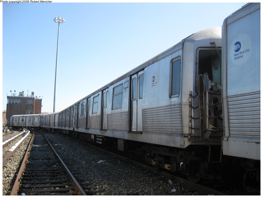 (183k, 1044x788)<br><b>Country:</b> United States<br><b>City:</b> New York<br><b>System:</b> New York City Transit<br><b>Location:</b> East New York Yard/Shops<br><b>Car:</b> R-42 (St. Louis, 1969-1970)  4805 <br><b>Photo by:</b> Robert Mencher<br><b>Date:</b> 3/23/2009<br><b>Viewed (this week/total):</b> 0 / 544