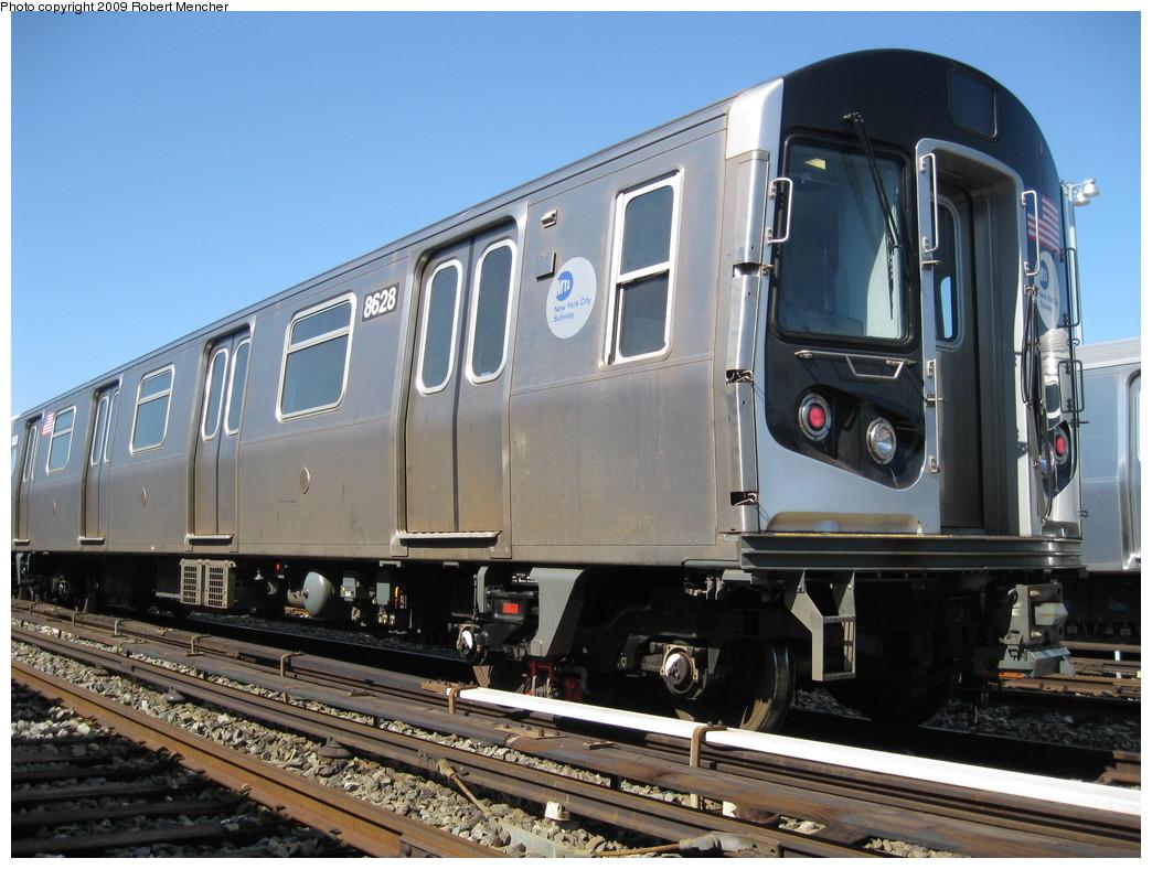 (224k, 1044x788)<br><b>Country:</b> United States<br><b>City:</b> New York<br><b>System:</b> New York City Transit<br><b>Location:</b> East New York Yard/Shops<br><b>Car:</b> R-160A-1 (Alstom, 2005-2008, 4 car sets)  8628 <br><b>Photo by:</b> Robert Mencher<br><b>Date:</b> 3/23/2009<br><b>Viewed (this week/total):</b> 0 / 948