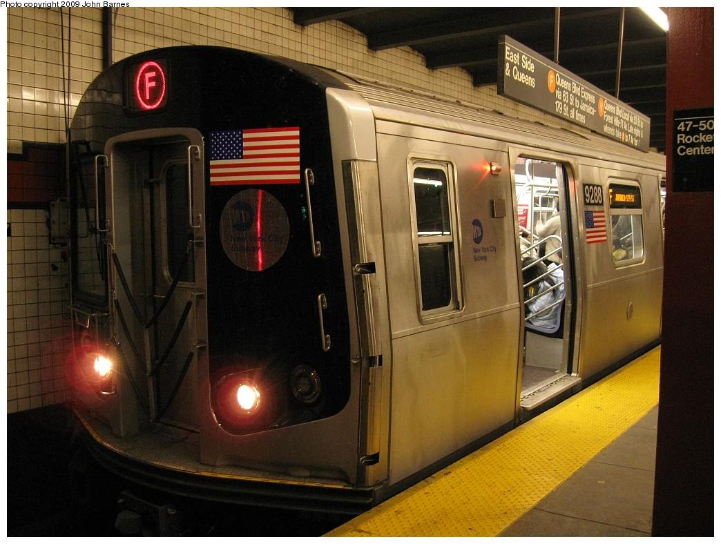 (236k, 1044x788)<br><b>Country:</b> United States<br><b>City:</b> New York<br><b>System:</b> New York City Transit<br><b>Line:</b> IND 6th Avenue Line<br><b>Location:</b> 47-50th Street/Rockefeller Center <br><b>Route:</b> F<br><b>Car:</b> R-160A (Option 1) (Alstom, 2008-2009, 5 car sets)  9288 <br><b>Photo by:</b> John Barnes<br><b>Date:</b> 3/25/2009<br><b>Viewed (this week/total):</b> 0 / 2106