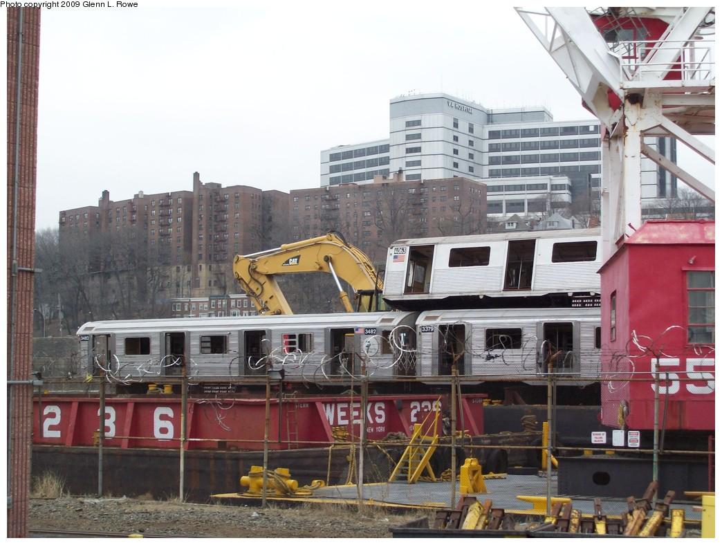 (235k, 1044x788)<br><b>Country:</b> United States<br><b>City:</b> New York<br><b>System:</b> New York City Transit<br><b>Location:</b> 207th Street Yard<br><b>Car:</b> R-32 (Budd, 1964)  3482 <br><b>Photo by:</b> Glenn L. Rowe<br><b>Date:</b> 3/26/2009<br><b>Notes:</b> With 4063, 3379<br><b>Viewed (this week/total):</b> 4 / 1073
