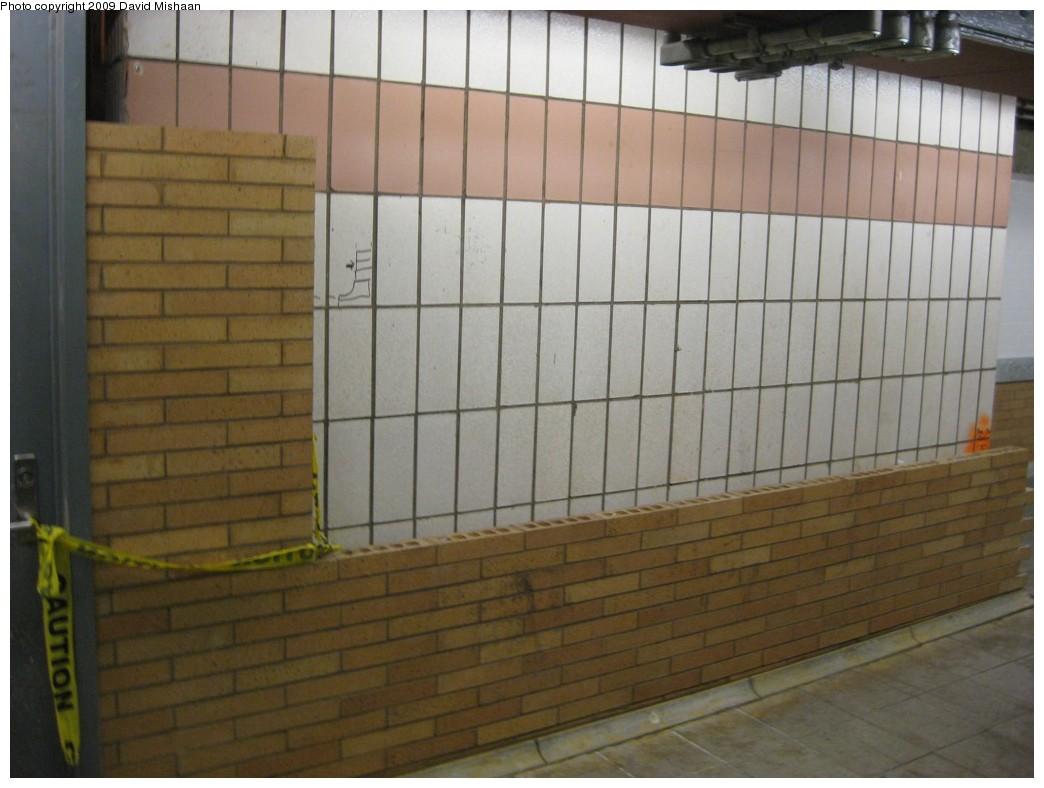 (158k, 1044x788)<br><b>Country:</b> United States<br><b>City:</b> New York<br><b>System:</b> New York City Transit<br><b>Line:</b> IRT West Side Line<br><b>Location:</b> 59th Street/Columbus Circle <br><b>Photo by:</b> David M. <br><b>Date:</b> 2/13/2009<br><b>Notes:</b> IRT downtown platform; new brick covering 1960's tile.<br><b>Viewed (this week/total):</b> 1 / 1057