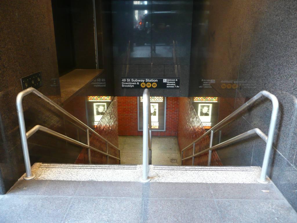 (128k, 1024x768)<br><b>Country:</b> United States<br><b>City:</b> New York<br><b>System:</b> New York City Transit<br><b>Line:</b> BMT Broadway Line<br><b>Location:</b> 49th Street <br><b>Photo by:</b> Robbie Rosenfeld<br><b>Date:</b> 3/25/2009<br><b>Notes:</b> Station entrance.<br><b>Viewed (this week/total):</b> 0 / 1739