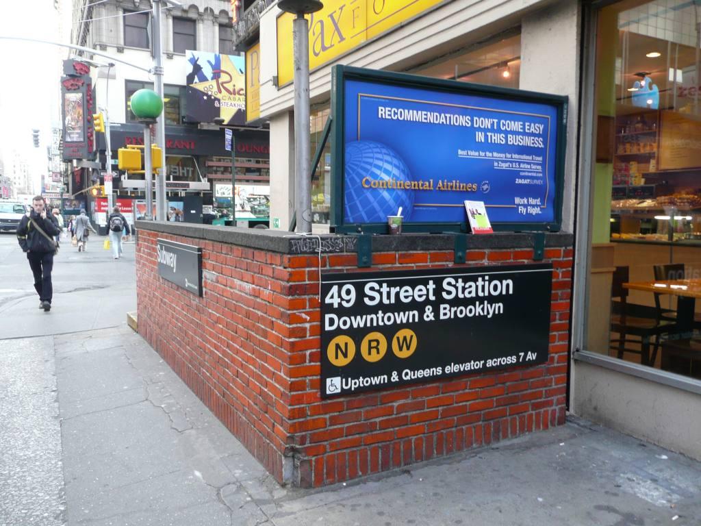 (154k, 1024x768)<br><b>Country:</b> United States<br><b>City:</b> New York<br><b>System:</b> New York City Transit<br><b>Line:</b> BMT Broadway Line<br><b>Location:</b> 49th Street <br><b>Photo by:</b> Robbie Rosenfeld<br><b>Date:</b> 3/25/2009<br><b>Notes:</b> Station entrance.<br><b>Viewed (this week/total):</b> 1 / 2169