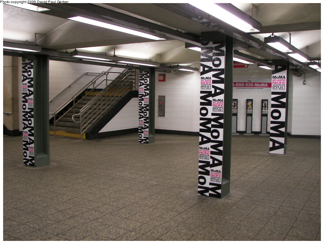 (276k, 1044x788)<br><b>Country:</b> United States<br><b>City:</b> New York<br><b>System:</b> New York City Transit<br><b>Line:</b> IRT Brooklyn Line<br><b>Location:</b> Atlantic Avenue <br><b>Photo by:</b> David-Paul Gerber<br><b>Date:</b> 3/11/2009<br><b>Artwork:</b> <i>MoMA Atlantic/Pacific</i>, artist unknown (2009).<br><b>Notes:</b> Mezzanine level downstairs.<br><b>Viewed (this week/total):</b> 0 / 1318