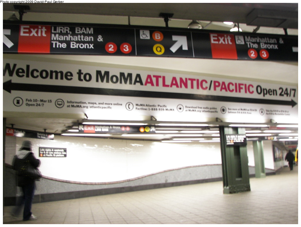 (222k, 1044x788)<br><b>Country:</b> United States<br><b>City:</b> New York<br><b>System:</b> New York City Transit<br><b>Line:</b> IRT Brooklyn Line<br><b>Location:</b> Atlantic Avenue <br><b>Photo by:</b> David-Paul Gerber<br><b>Date:</b> 3/11/2009<br><b>Artwork:</b> <i>MoMA Atlantic/Pacific</i>, artist unknown (2009).<br><b>Notes:</b> Brooklyn IRT mezzanine area.<br><b>Viewed (this week/total):</b> 9 / 1461