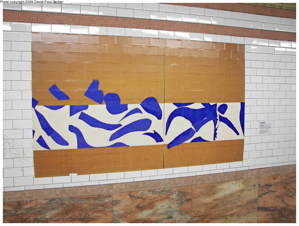 (254k, 1044x788)<br><b>Country:</b> United States<br><b>City:</b> New York<br><b>System:</b> New York City Transit<br><b>Line:</b> IRT Brooklyn Line<br><b>Location:</b> Atlantic Avenue <br><b>Photo by:</b> David-Paul Gerber<br><b>Date:</b> 3/11/2009<br><b>Artwork:</b> <i>MoMA Atlantic/Pacific</i>, artist unknown (2009).<br><b>Notes:</b> Henri Matisse, <i>The Swimming Pool</i> (1952)<br><b>Viewed (this week/total):</b> 0 / 1071
