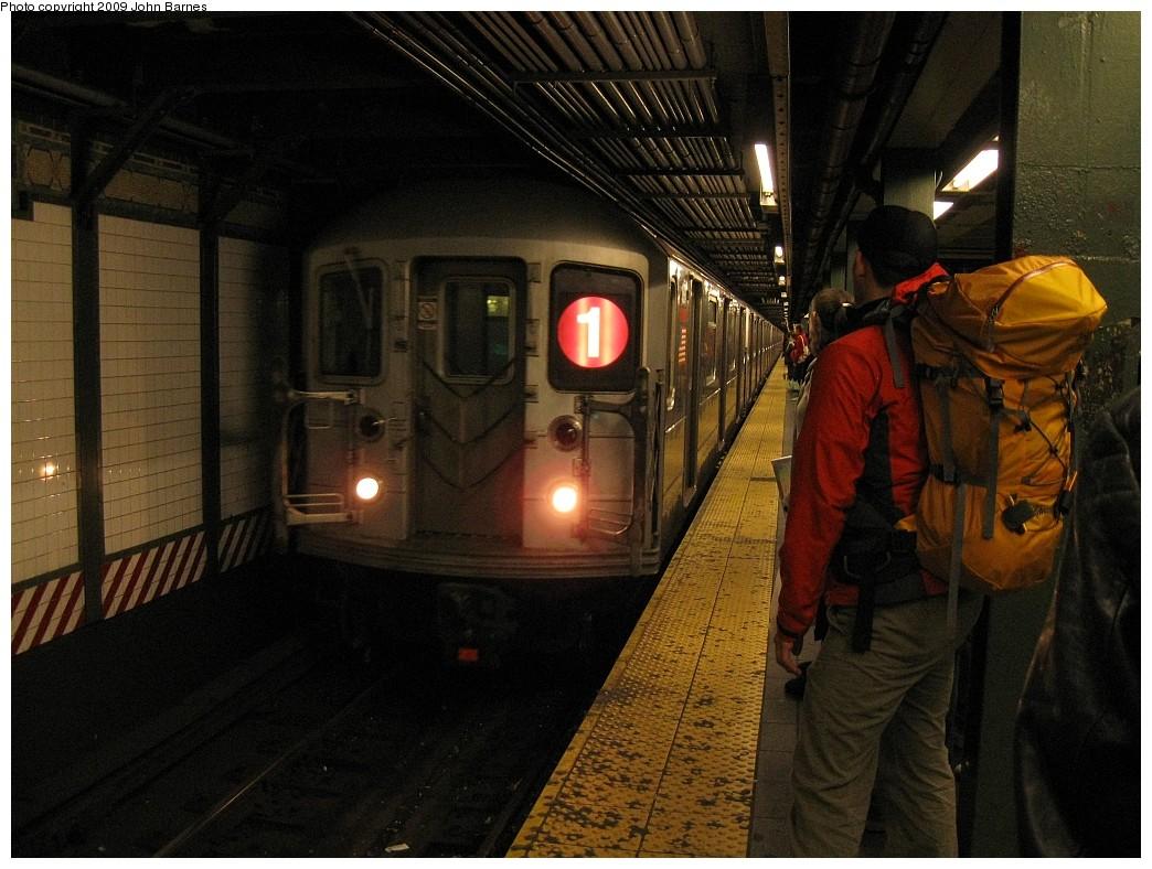 (226k, 1044x788)<br><b>Country:</b> United States<br><b>City:</b> New York<br><b>System:</b> New York City Transit<br><b>Line:</b> IRT West Side Line<br><b>Location:</b> Times Square/42nd Street <br><b>Route:</b> 1<br><b>Car:</b> R-62A (Bombardier, 1984-1987)  1841 <br><b>Photo by:</b> John Barnes<br><b>Date:</b> 3/26/2009<br><b>Viewed (this week/total):</b> 0 / 1548