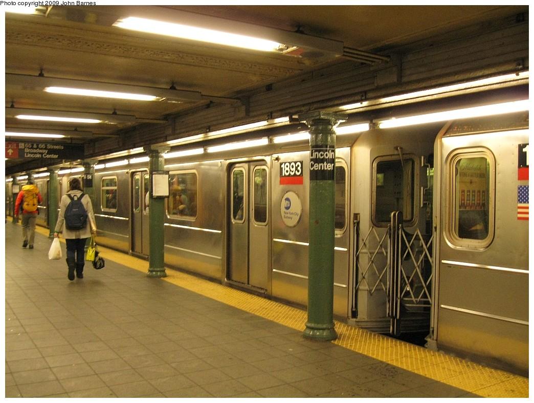 (233k, 1044x788)<br><b>Country:</b> United States<br><b>City:</b> New York<br><b>System:</b> New York City Transit<br><b>Line:</b> IRT West Side Line<br><b>Location:</b> 66th Street/Lincoln Center <br><b>Route:</b> 1<br><b>Car:</b> R-62A (Bombardier, 1984-1987)  1893 <br><b>Photo by:</b> John Barnes<br><b>Date:</b> 3/26/2009<br><b>Viewed (this week/total):</b> 0 / 1915