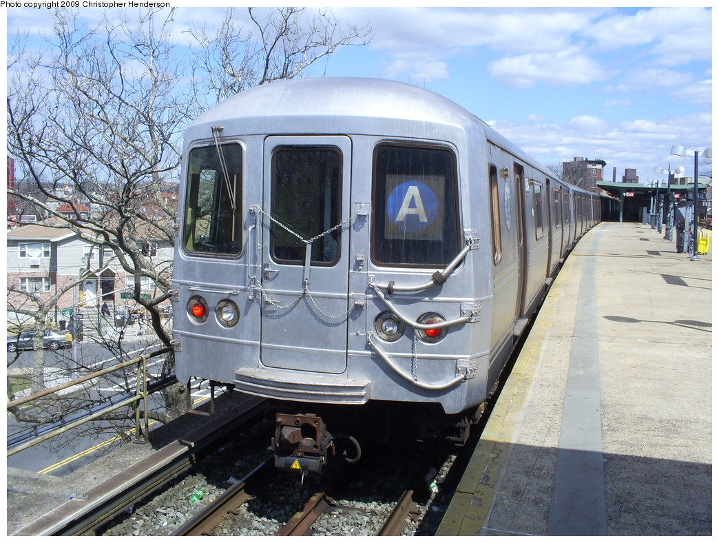 (327k, 1044x788)<br><b>Country:</b> United States<br><b>City:</b> New York<br><b>System:</b> New York City Transit<br><b>Line:</b> IND Rockaway<br><b>Location:</b> Mott Avenue/Far Rockaway <br><b>Route:</b> A<br><b>Car:</b> R-46 (Pullman-Standard, 1974-75) 6154 <br><b>Photo by:</b> Christopher Henderson<br><b>Date:</b> 3/30/2009<br><b>Viewed (this week/total):</b> 0 / 1324