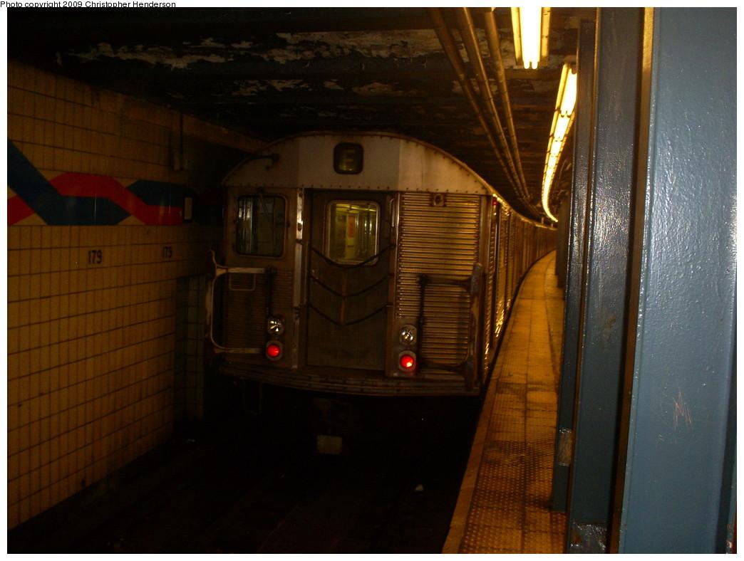 (231k, 1044x788)<br><b>Country:</b> United States<br><b>City:</b> New York<br><b>System:</b> New York City Transit<br><b>Line:</b> IND Queens Boulevard Line<br><b>Location:</b> 179th Street <br><b>Route:</b> F<br><b>Car:</b> R-32 (Budd, 1964)  3445 <br><b>Photo by:</b> Christopher Henderson<br><b>Date:</b> 3/30/2009<br><b>Viewed (this week/total):</b> 0 / 1363