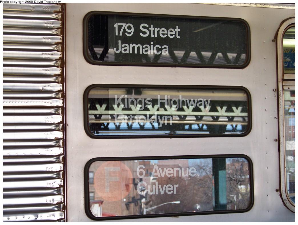 (218k, 1044x788)<br><b>Country:</b> United States<br><b>City:</b> New York<br><b>System:</b> New York City Transit<br><b>Line:</b> BMT Culver Line<br><b>Location:</b> 18th Avenue <br><b>Route:</b> F<br><b>Car:</b> R-32 (Budd, 1964)  3445 <br><b>Photo by:</b> David Tropiansky<br><b>Date:</b> 3/25/2009<br><b>Notes:</b> Side rollsign<br><b>Viewed (this week/total):</b> 2 / 1994