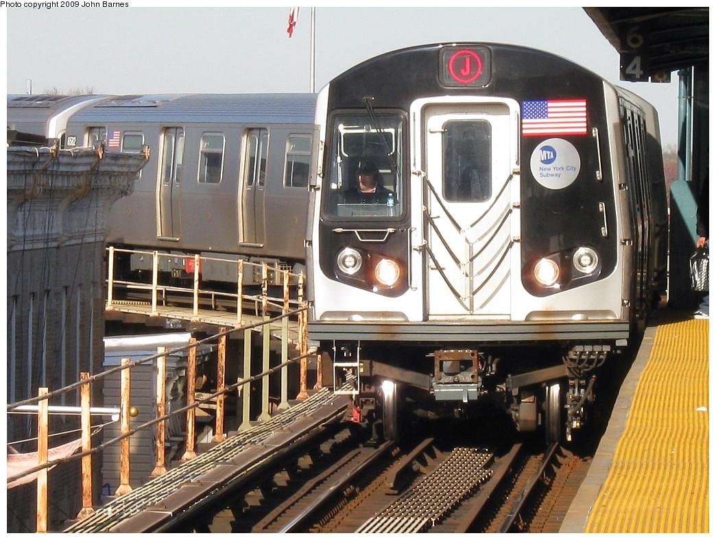 (252k, 1044x788)<br><b>Country:</b> United States<br><b>City:</b> New York<br><b>System:</b> New York City Transit<br><b>Line:</b> BMT Nassau Street/Jamaica Line<br><b>Location:</b> Crescent Street <br><b>Route:</b> J<br><b>Car:</b> R-160A-1 (Alstom, 2005-2008, 4 car sets)  8584 <br><b>Photo by:</b> John Barnes<br><b>Date:</b> 3/31/2009<br><b>Viewed (this week/total):</b> 1 / 1308