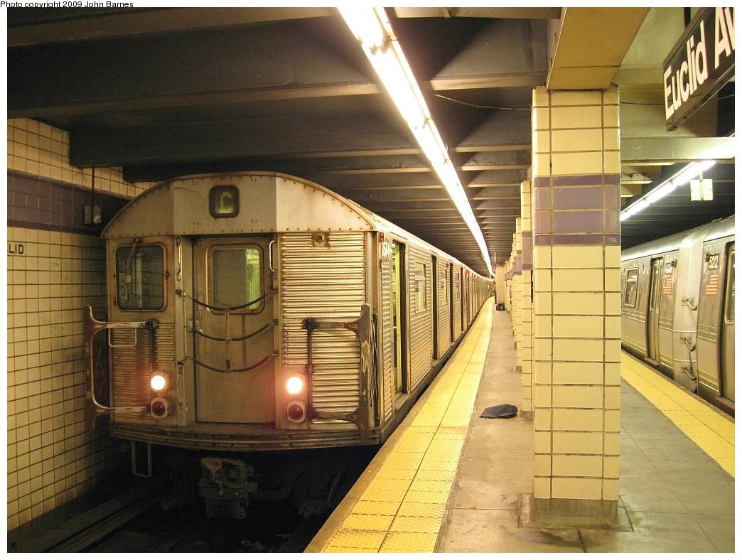 (248k, 1044x788)<br><b>Country:</b> United States<br><b>City:</b> New York<br><b>System:</b> New York City Transit<br><b>Line:</b> IND Fulton Street Line<br><b>Location:</b> Euclid Avenue <br><b>Route:</b> C<br><b>Car:</b> R-32 (Budd, 1964)  3574 <br><b>Photo by:</b> John Barnes<br><b>Date:</b> 3/31/2009<br><b>Viewed (this week/total):</b> 0 / 1114