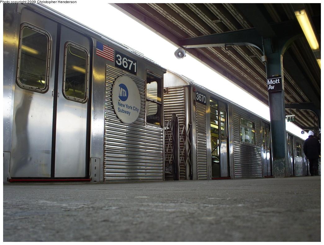 (270k, 1044x788)<br><b>Country:</b> United States<br><b>City:</b> New York<br><b>System:</b> New York City Transit<br><b>Line:</b> IND Rockaway<br><b>Location:</b> Mott Avenue/Far Rockaway <br><b>Route:</b> A<br><b>Car:</b> R-32 (Budd, 1964)  3670/3671 <br><b>Photo by:</b> Christopher Henderson<br><b>Date:</b> 4/1/2009<br><b>Viewed (this week/total):</b> 0 / 1092