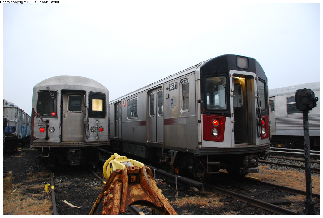 (219k, 1044x705)<br><b>Country:</b> United States<br><b>City:</b> New York<br><b>System:</b> New York City Transit<br><b>Location:</b> 207th Street Yard<br><b>Car:</b> R-142A (Option Order, Kawasaki, 2002-2003)  7631 <br><b>Photo by:</b> Robert Taylor<br><b>Date:</b> 3/29/2009<br><b>Notes:</b> With R42 4723<br><b>Viewed (this week/total):</b> 0 / 1808