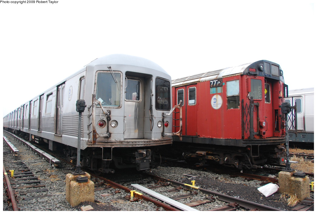 (244k, 1044x705)<br><b>Country:</b> United States<br><b>City:</b> New York<br><b>System:</b> New York City Transit<br><b>Location:</b> 207th Street Yard<br><b>Car:</b> R-26 (American Car & Foundry, 1959-60) 7770 <br><b>Photo by:</b> Robert Taylor<br><b>Date:</b> 3/29/2009<br><b>Notes:</b> With R42 4734<br><b>Viewed (this week/total):</b> 0 / 1103