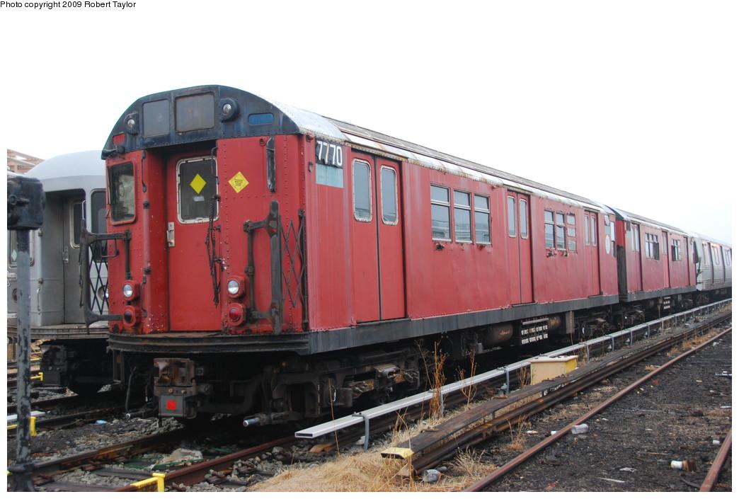 (244k, 1044x705)<br><b>Country:</b> United States<br><b>City:</b> New York<br><b>System:</b> New York City Transit<br><b>Location:</b> 207th Street Yard<br><b>Car:</b> R-26 (American Car & Foundry, 1959-60) 7770 <br><b>Photo by:</b> Robert Taylor<br><b>Date:</b> 3/29/2009<br><b>Viewed (this week/total):</b> 2 / 1352