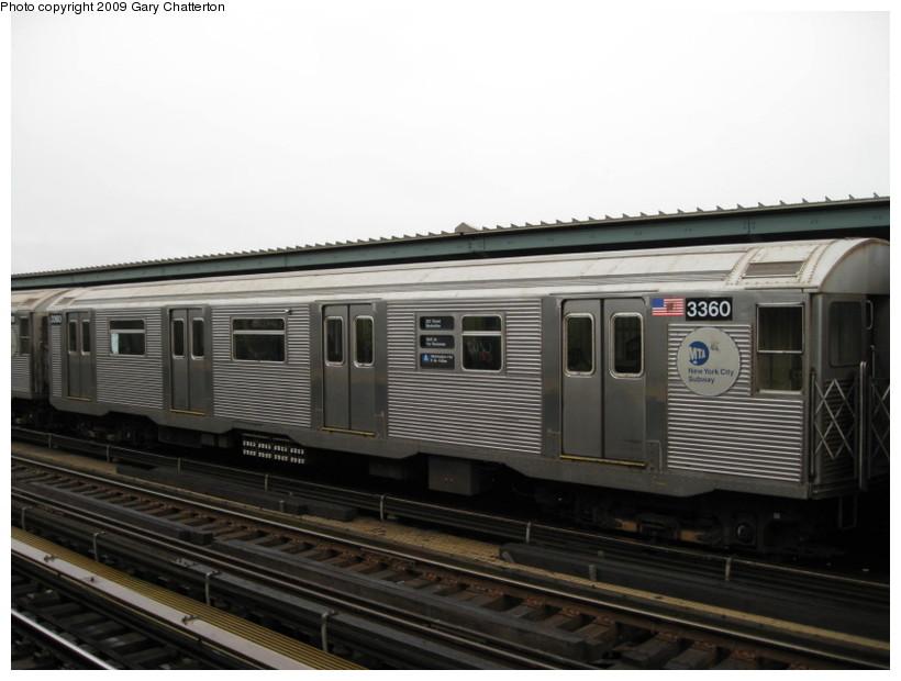 (103k, 820x620)<br><b>Country:</b> United States<br><b>City:</b> New York<br><b>System:</b> New York City Transit<br><b>Line:</b> IND Fulton Street Line<br><b>Location:</b> Rockaway Boulevard <br><b>Route:</b> A<br><b>Car:</b> R-32 (Budd, 1964)  3360 <br><b>Photo by:</b> Gary Chatterton<br><b>Date:</b> 4/1/2009<br><b>Viewed (this week/total):</b> 3 / 1294