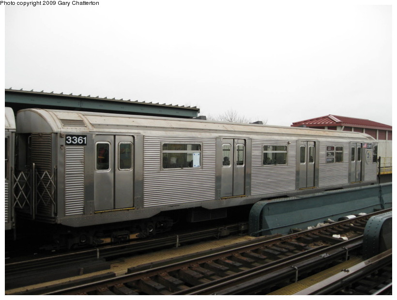 (101k, 820x620)<br><b>Country:</b> United States<br><b>City:</b> New York<br><b>System:</b> New York City Transit<br><b>Line:</b> IND Fulton Street Line<br><b>Location:</b> Rockaway Boulevard <br><b>Route:</b> A<br><b>Car:</b> R-32 (Budd, 1964)  3361 <br><b>Photo by:</b> Gary Chatterton<br><b>Date:</b> 4/1/2009<br><b>Viewed (this week/total):</b> 1 / 912