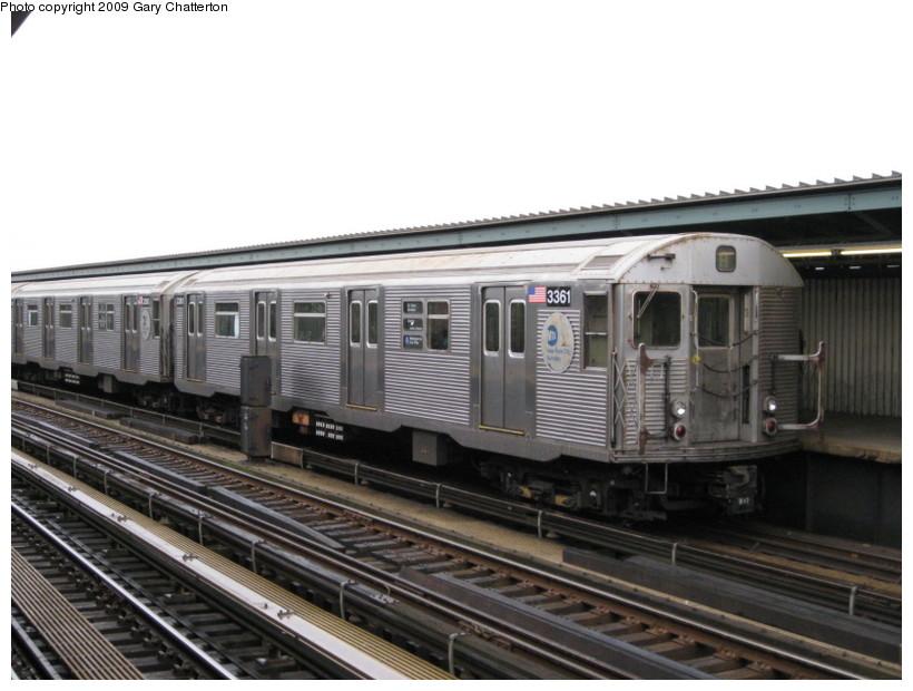 (119k, 820x620)<br><b>Country:</b> United States<br><b>City:</b> New York<br><b>System:</b> New York City Transit<br><b>Line:</b> IND Fulton Street Line<br><b>Location:</b> Rockaway Boulevard <br><b>Route:</b> A<br><b>Car:</b> R-32 (Budd, 1964)  3361 <br><b>Photo by:</b> Gary Chatterton<br><b>Date:</b> 4/1/2009<br><b>Viewed (this week/total):</b> 0 / 952