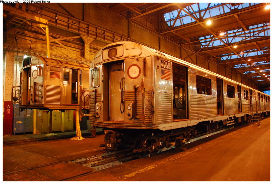 (344k, 1044x705)<br><b>Country:</b> United States<br><b>City:</b> New York<br><b>System:</b> New York City Transit<br><b>Location:</b> 207th Street Shop<br><b>Car:</b> R-38 (St. Louis, 1966-1967)  4068/3977 <br><b>Photo by:</b> Robert Taylor<br><b>Date:</b> 3/29/2009<br><b>Notes:</b> Scrap<br><b>Viewed (this week/total):</b> 5 / 1031