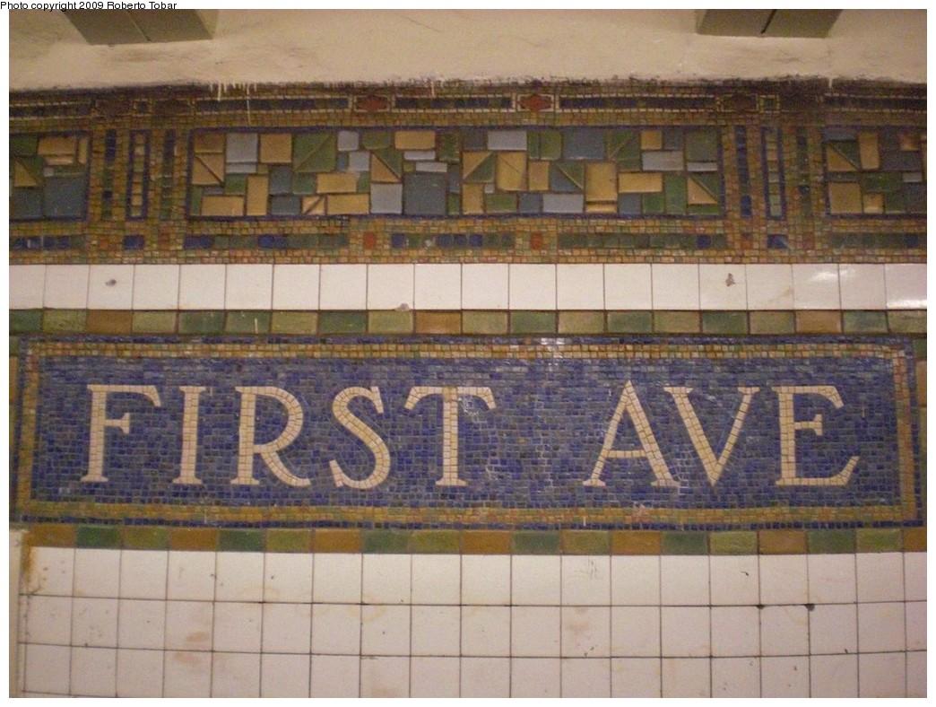(248k, 1044x788)<br><b>Country:</b> United States<br><b>City:</b> New York<br><b>System:</b> New York City Transit<br><b>Line:</b> BMT Canarsie Line<br><b>Location:</b> 1st Avenue <br><b>Photo by:</b> Roberto C. Tobar<br><b>Date:</b> 4/2/2009<br><b>Notes:</b> Mosaic name tablet.<br><b>Viewed (this week/total):</b> 3 / 956