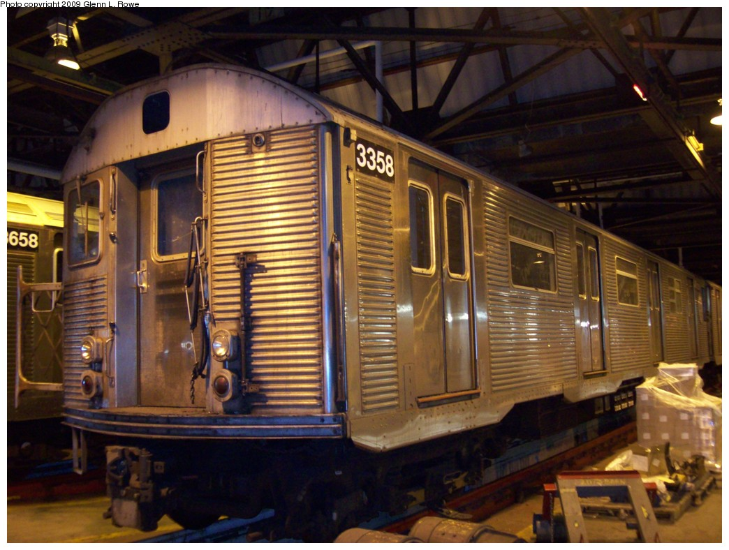 (220k, 1044x788)<br><b>Country:</b> United States<br><b>City:</b> New York<br><b>System:</b> New York City Transit<br><b>Location:</b> 207th Street Shop<br><b>Car:</b> R-32 (Budd, 1964)  3358 <br><b>Photo by:</b> Glenn L. Rowe<br><b>Date:</b> 4/1/2009<br><b>Viewed (this week/total):</b> 0 / 927