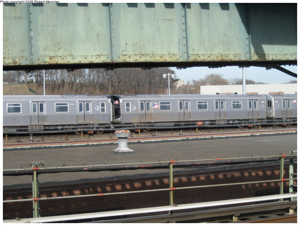 (242k, 1044x788)<br><b>Country:</b> United States<br><b>City:</b> New York<br><b>System:</b> New York City Transit<br><b>Location:</b> East New York Yard/Shops<br><b>Car:</b> R-160A-1 (Alstom, 2005-2008, 4 car sets)  8316 <br><b>Photo by:</b> Robert Mencher<br><b>Date:</b> 3/25/2009<br><b>Viewed (this week/total):</b> 0 / 905