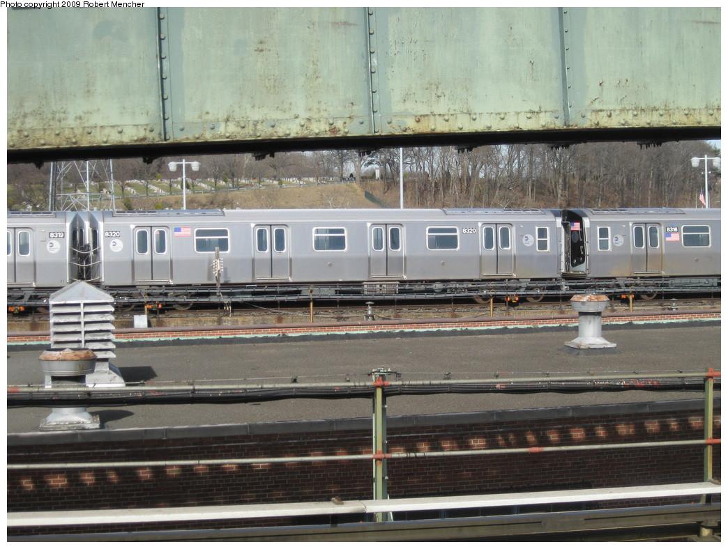 (247k, 1044x788)<br><b>Country:</b> United States<br><b>City:</b> New York<br><b>System:</b> New York City Transit<br><b>Location:</b> East New York Yard/Shops<br><b>Car:</b> R-160A-1 (Alstom, 2005-2008, 4 car sets)  8320 <br><b>Photo by:</b> Robert Mencher<br><b>Date:</b> 3/25/2009<br><b>Viewed (this week/total):</b> 0 / 819
