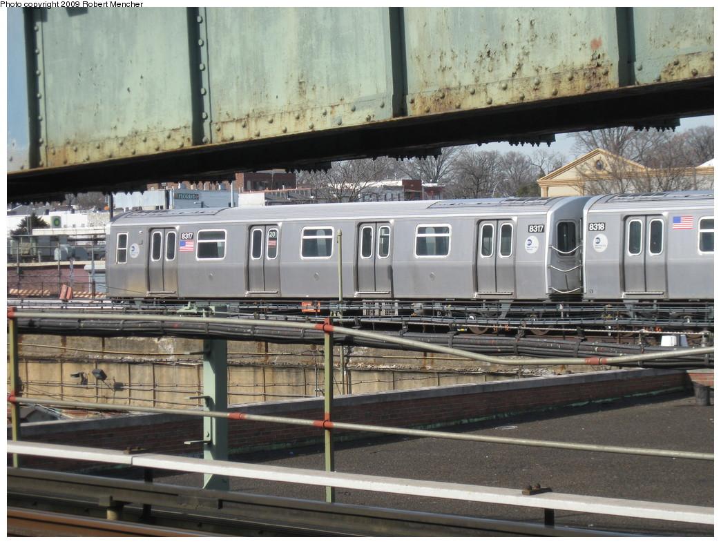 (254k, 1044x788)<br><b>Country:</b> United States<br><b>City:</b> New York<br><b>System:</b> New York City Transit<br><b>Location:</b> East New York Yard/Shops<br><b>Car:</b> R-160A-1 (Alstom, 2005-2008, 4 car sets)  8317 <br><b>Photo by:</b> Robert Mencher<br><b>Date:</b> 3/25/2009<br><b>Viewed (this week/total):</b> 0 / 883