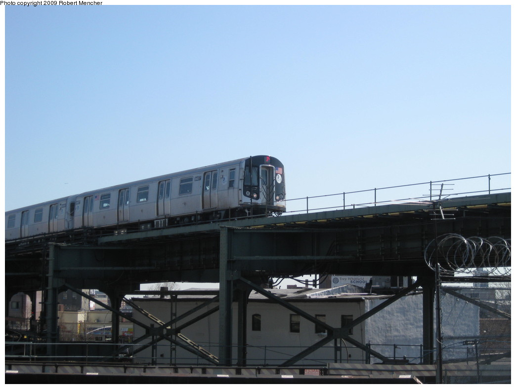(145k, 1044x788)<br><b>Country:</b> United States<br><b>City:</b> New York<br><b>System:</b> New York City Transit<br><b>Line:</b> BMT Nassau Street/Jamaica Line<br><b>Location:</b> Broadway/East New York (Broadway Junction) <br><b>Car:</b> R-160A-1 (Alstom, 2005-2008, 4 car sets)  8457 <br><b>Photo by:</b> Robert Mencher<br><b>Date:</b> 3/31/2009<br><b>Viewed (this week/total):</b> 0 / 1154
