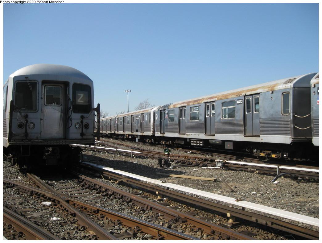 (234k, 1044x788)<br><b>Country:</b> United States<br><b>City:</b> New York<br><b>System:</b> New York City Transit<br><b>Location:</b> East New York Yard/Shops<br><b>Car:</b> R-42 (St. Louis, 1969-1970)  4823 <br><b>Photo by:</b> Robert Mencher<br><b>Date:</b> 3/31/2009<br><b>Viewed (this week/total):</b> 0 / 705