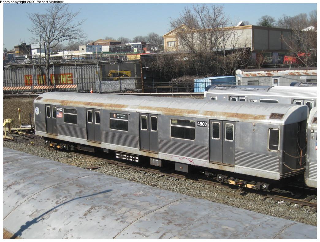 (283k, 1044x788)<br><b>Country:</b> United States<br><b>City:</b> New York<br><b>System:</b> New York City Transit<br><b>Location:</b> East New York Yard/Shops<br><b>Car:</b> R-42 (St. Louis, 1969-1970)  4802 <br><b>Photo by:</b> Robert Mencher<br><b>Date:</b> 3/31/2009<br><b>Viewed (this week/total):</b> 0 / 856